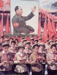 Schoolchildren reading from Chairman Mao's Little Red Book
